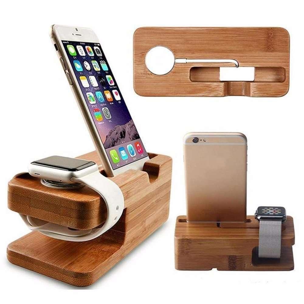 2 in 1 Bamboo Wood Desktop Dock Station for Apple Watch - Adamwear
